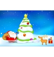 Santa decorating christmas tree vector