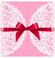 Pink lacy wedding card template vector