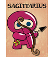 Zodiac sign sagittarius with cute black ninja vector