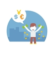 Rich man has a lot of different currencies dollar vector