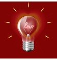 Concept of love in the form of light bulb on a red vector