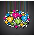 New year 2015 heart shape banner design vector
