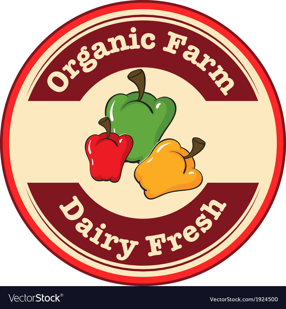 A round dairy fresh and organic farm logo with vector | Price: 1 Credit (USD $1)