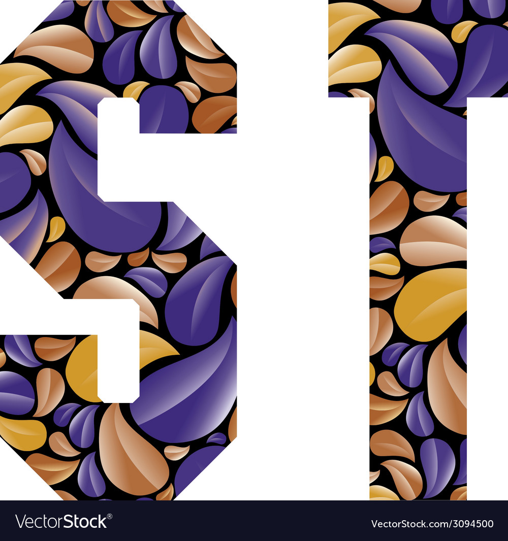 Beautiful floral alphabet letters s and t vector | Price: 1 Credit (USD $1)
