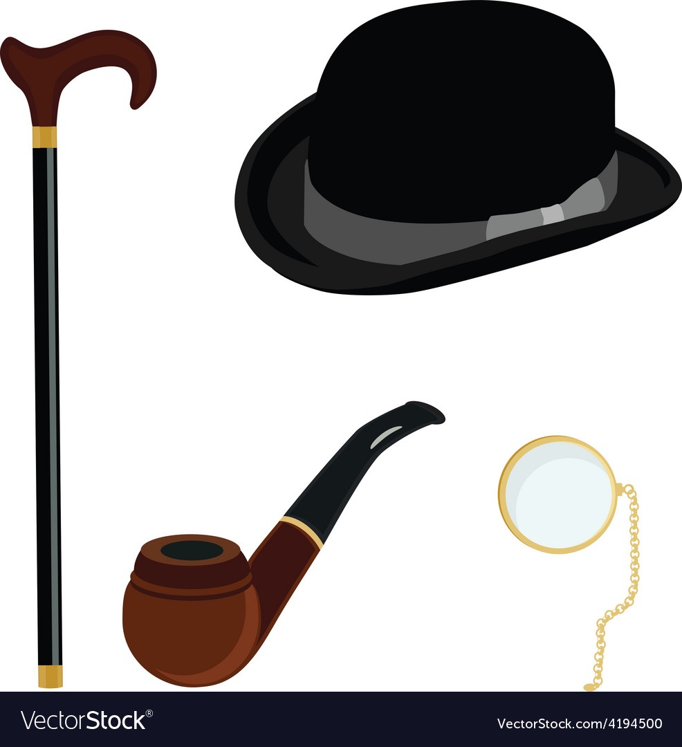 Bowler hat monocle smoking pipe and walking stick vector | Price: 1 Credit (USD $1)