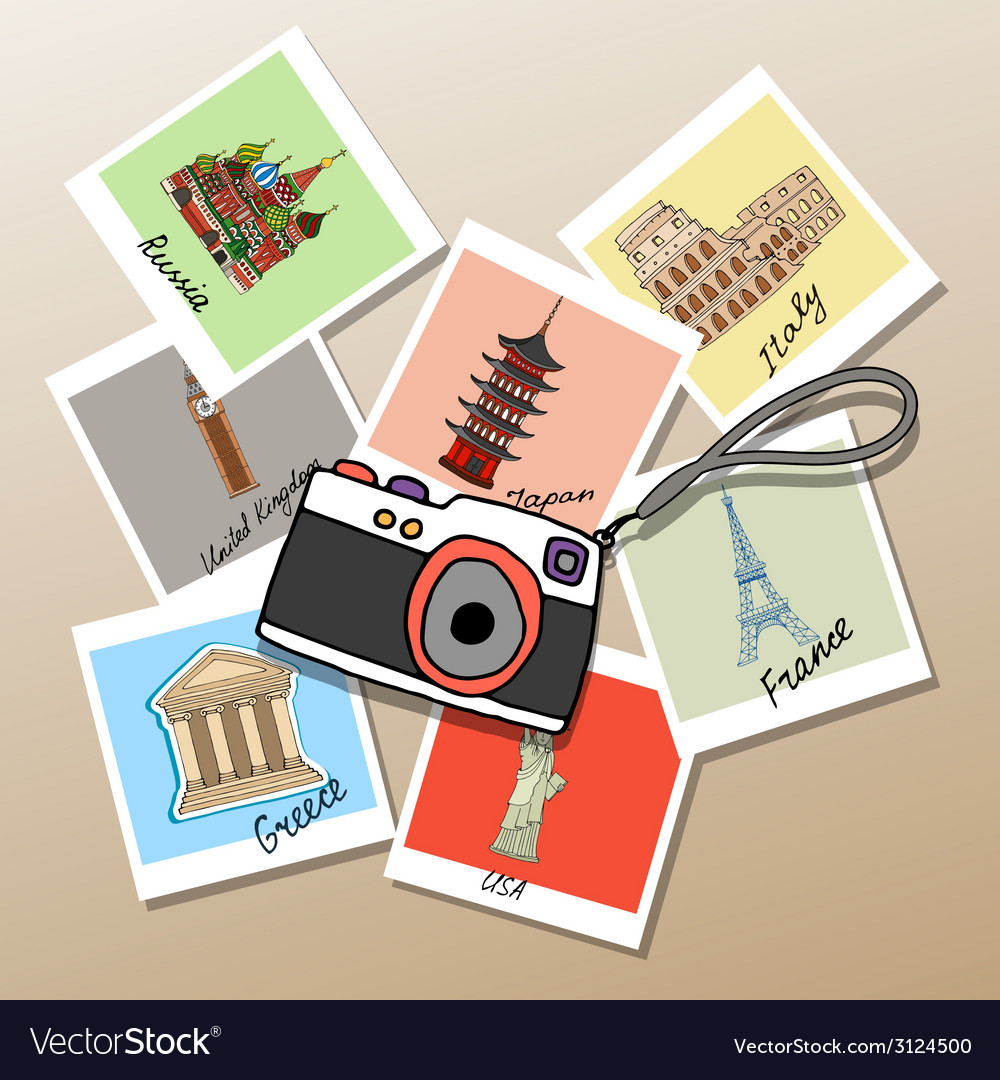 Camera with photographs of global landmarks vector | Price: 1 Credit (USD $1)
