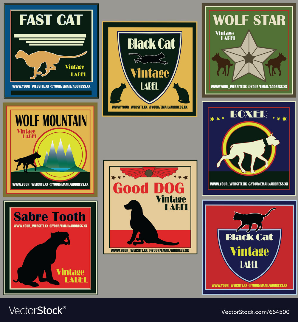 Cat and dog vintage label set vector | Price: 1 Credit (USD $1)
