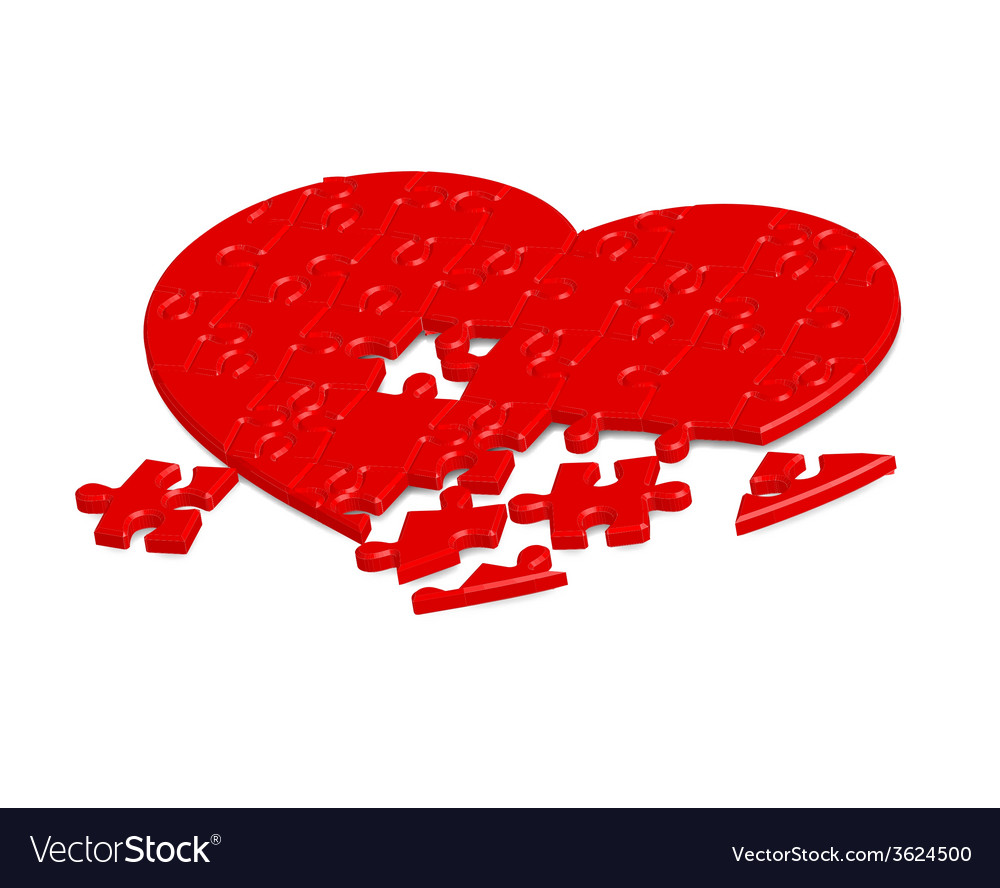 Jigsaw heart2 vector | Price: 1 Credit (USD $1)