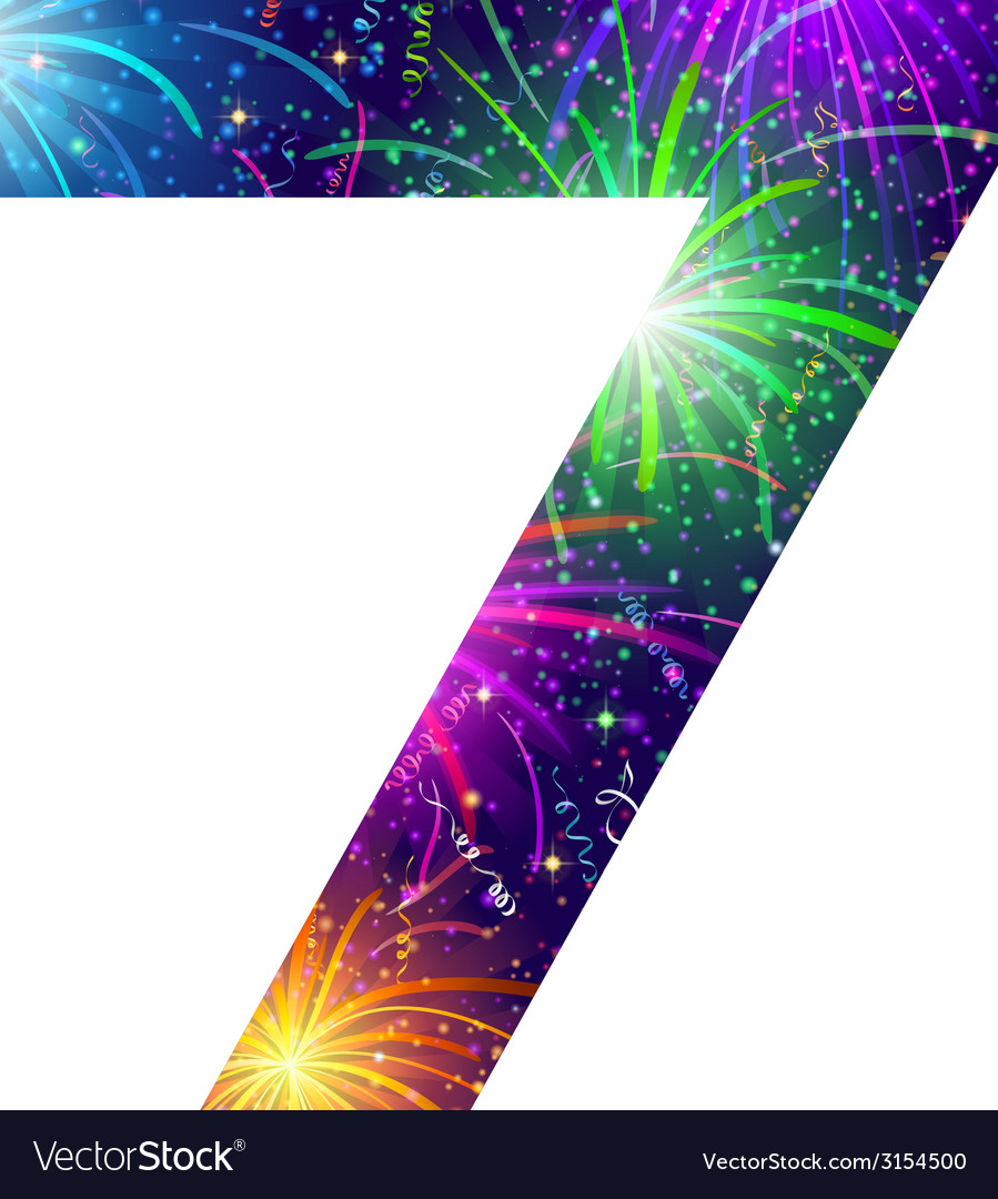Number of colorful firework seven vector | Price: 1 Credit (USD $1)