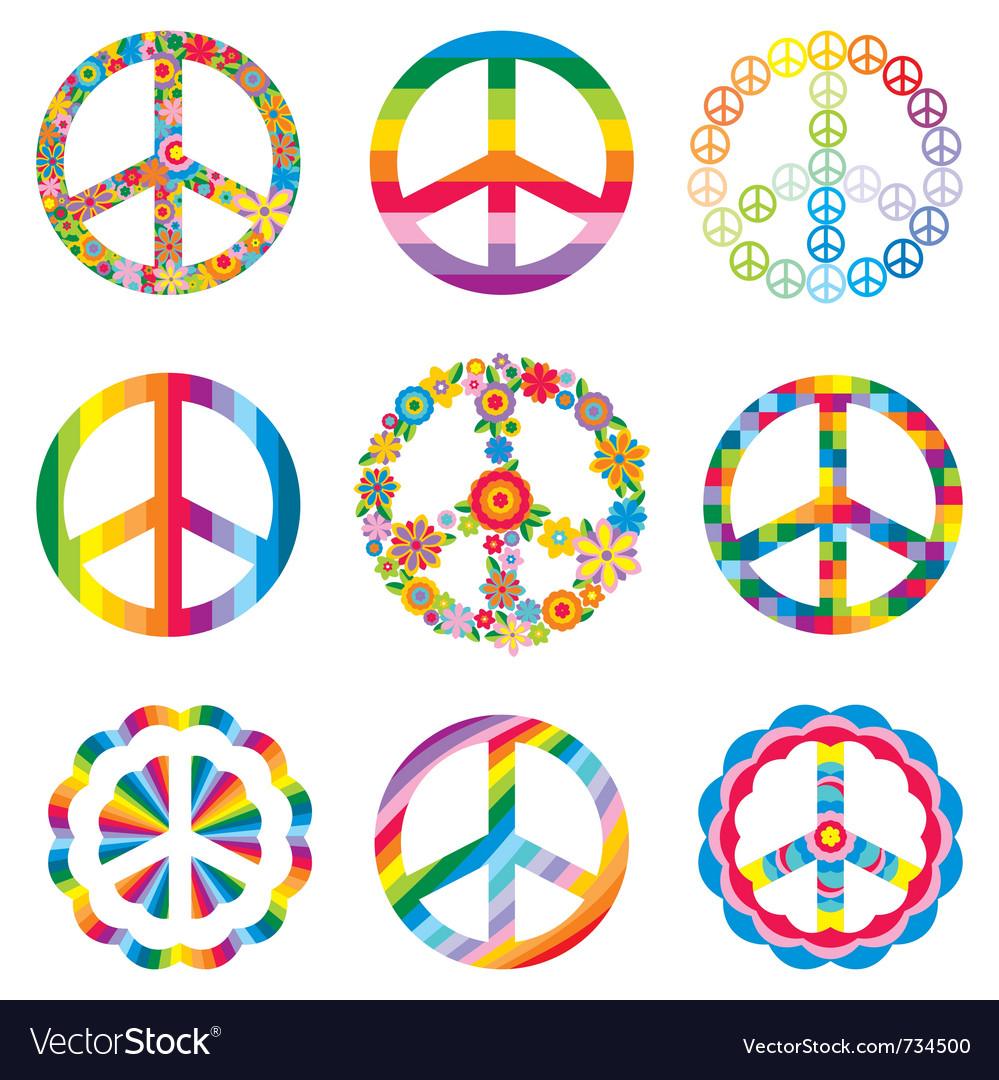 Set of abstract peace symbols vector | Price: 1 Credit (USD $1)