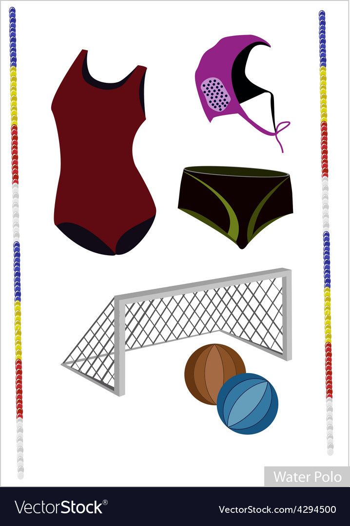 Set of water polo equipment on white background vector | Price: 1 Credit (USD $1)