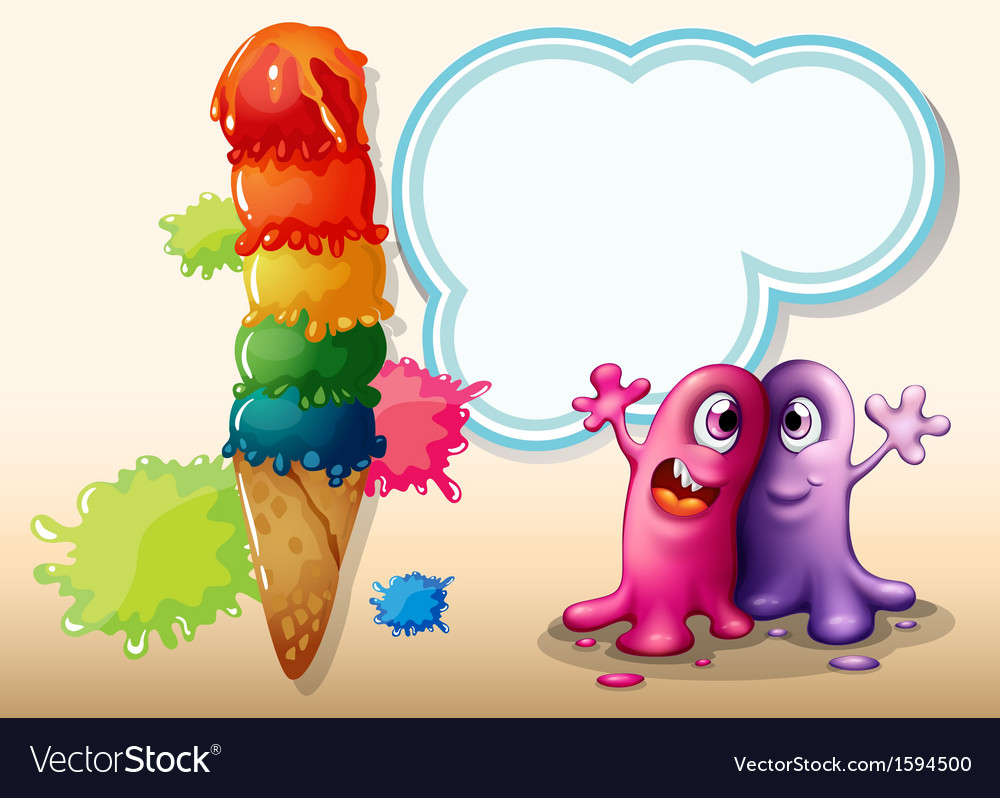 Two monsters near the giant ice cream vector | Price: 1 Credit (USD $1)