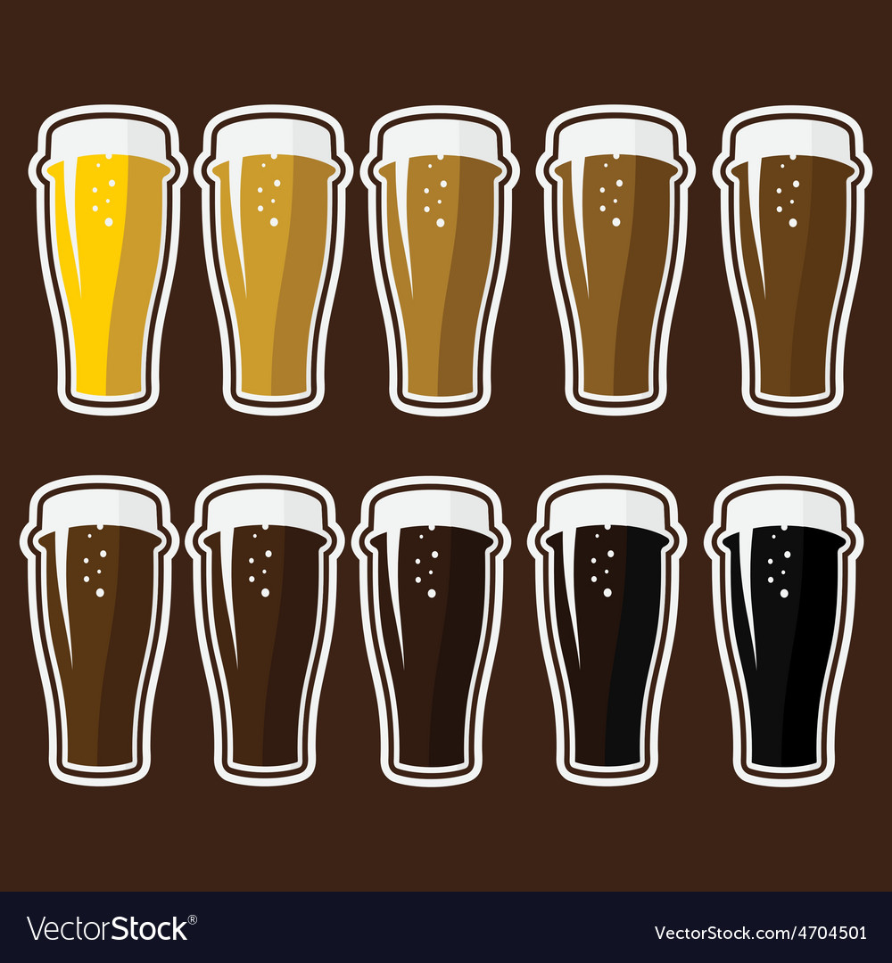 Set of glasses with different varieties of beer vector | Price: 1 Credit (USD $1)