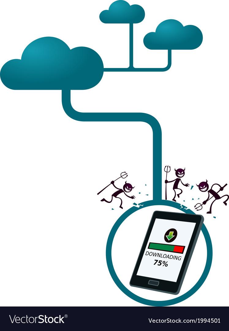 Virus interupting download process on a gadget vector | Price: 1 Credit (USD $1)