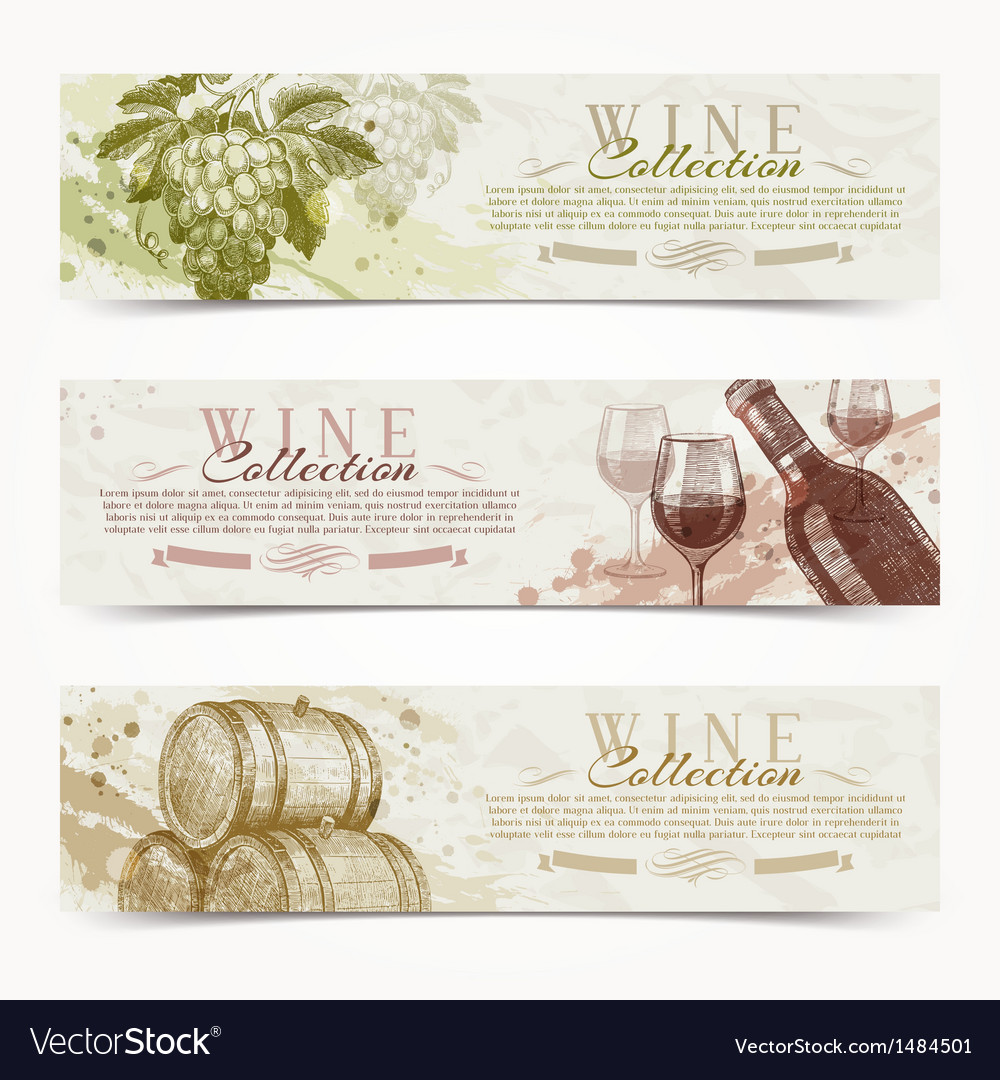 Wine and winemaking grunge vintage banners vector | Price: 1 Credit (USD $1)