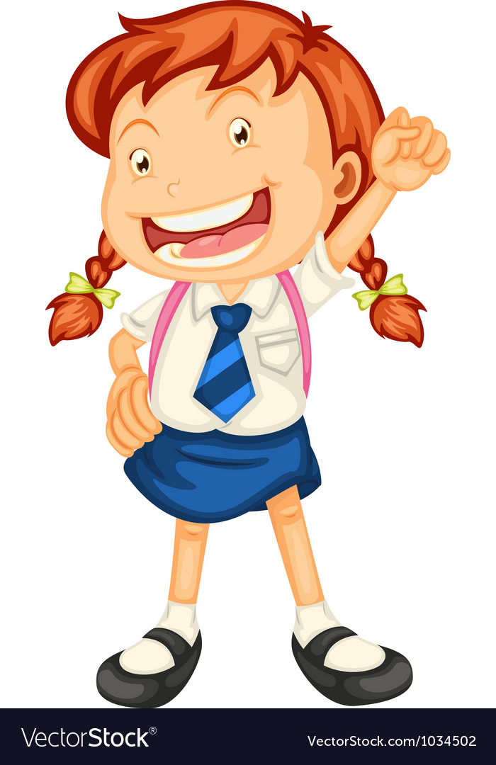 A girl going to school vector | Price: 1 Credit (USD $1)