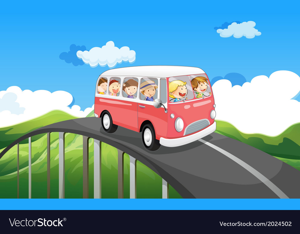 A school bus with kids travelling vector | Price: 3 Credit (USD $3)