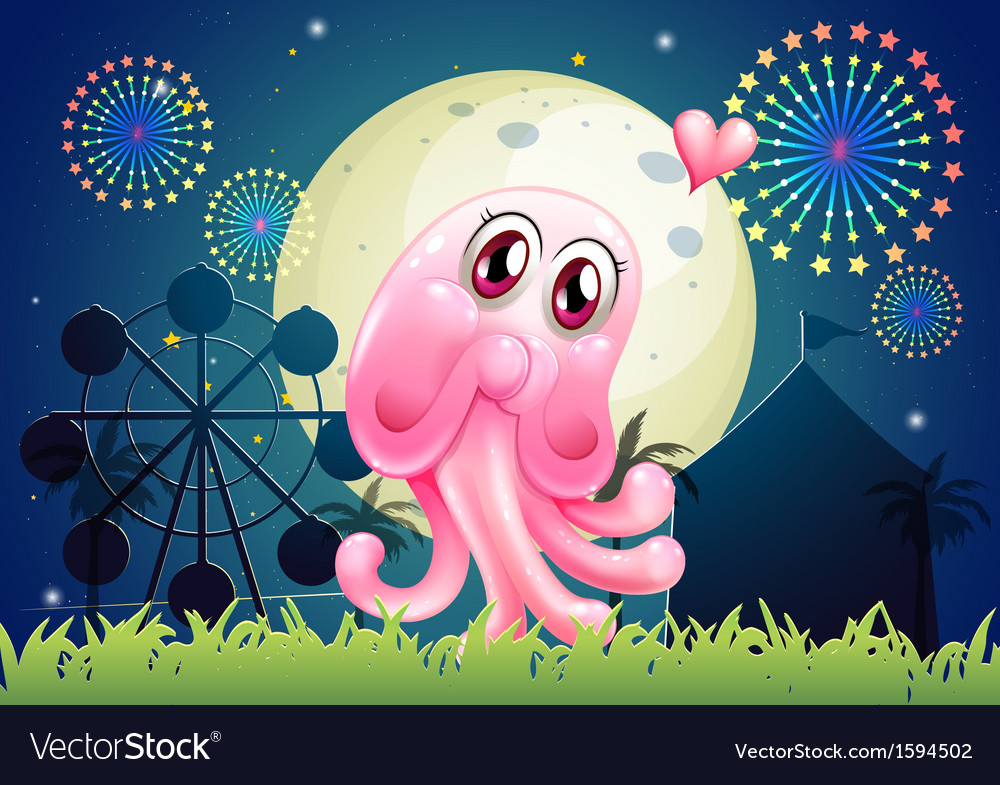 An in-love pink monster near the carnival vector | Price: 1 Credit (USD $1)