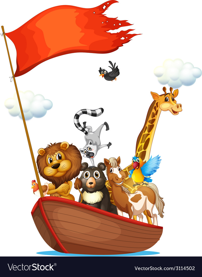 Animals and boat vector | Price: 1 Credit (USD $1)