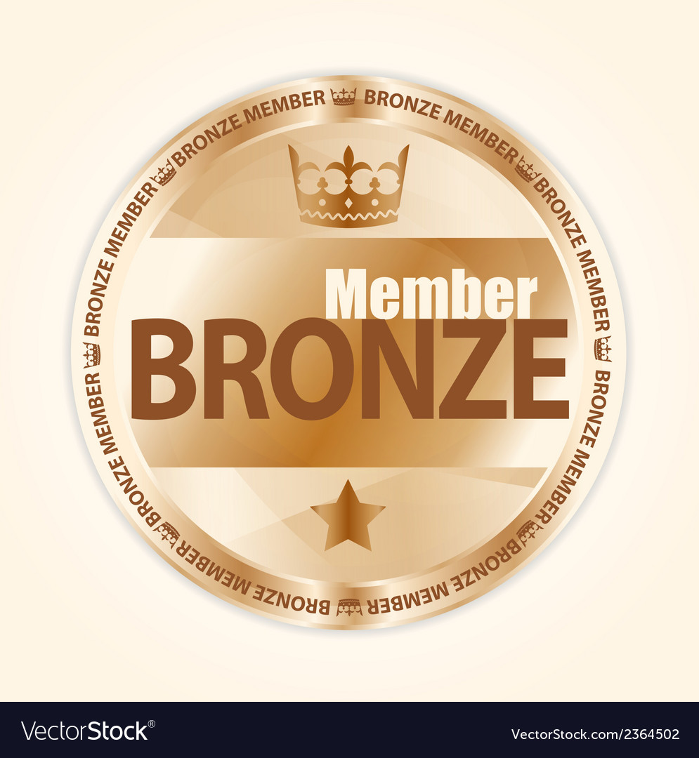 Bronze member badge with royal crown and one star vector | Price: 1 Credit (USD $1)