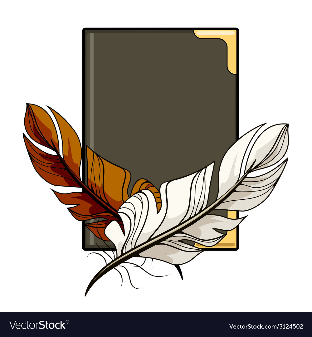 Brown and white feathers on a book vector | Price: 1 Credit (USD $1)