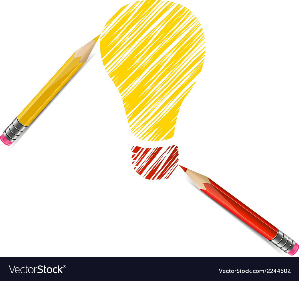 Bulb drawn with color pencils vector | Price: 1 Credit (USD $1)
