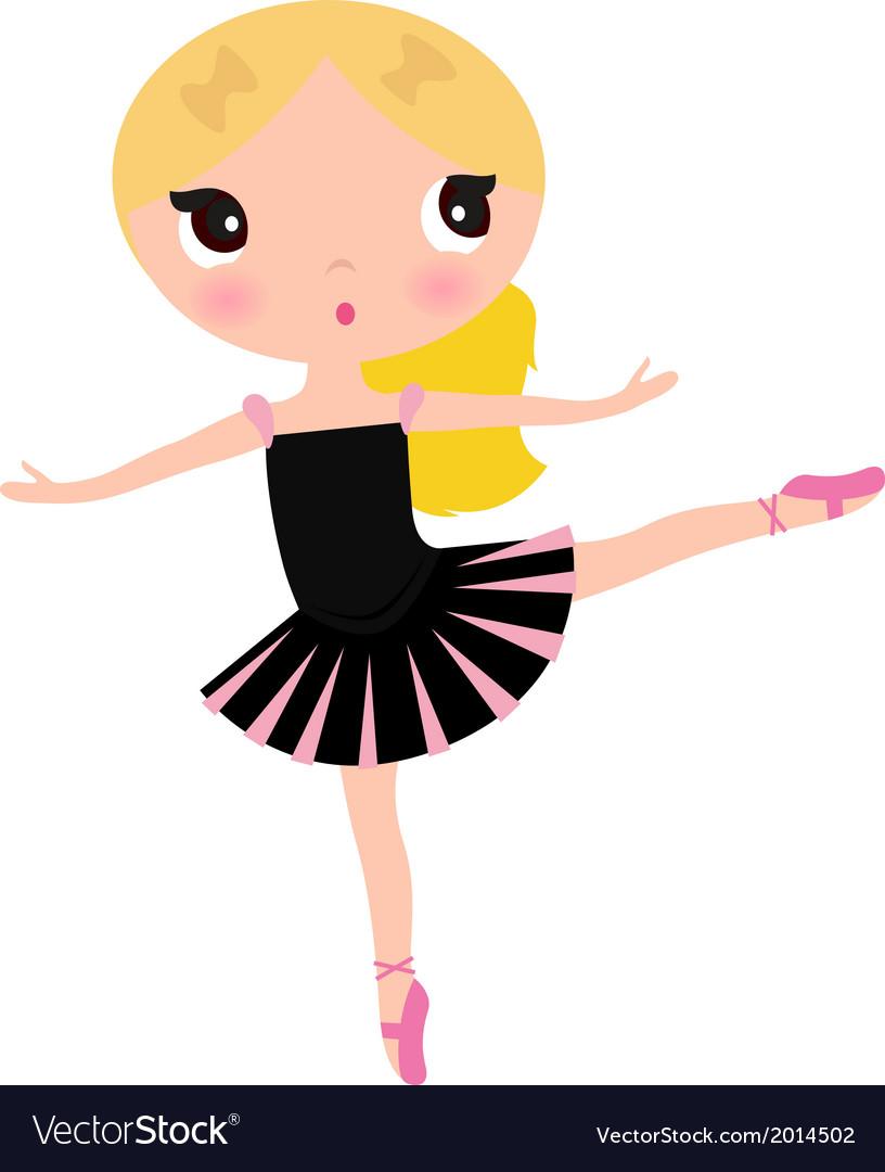 Cute posing beautiful black ballerina girl vector | Price: 1 Credit (USD $1)