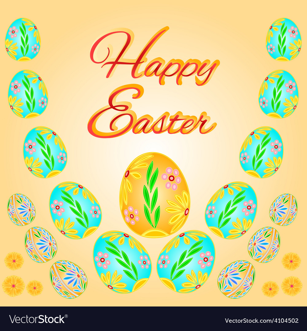 Easter eggs spring background place for text vector | Price: 1 Credit (USD $1)