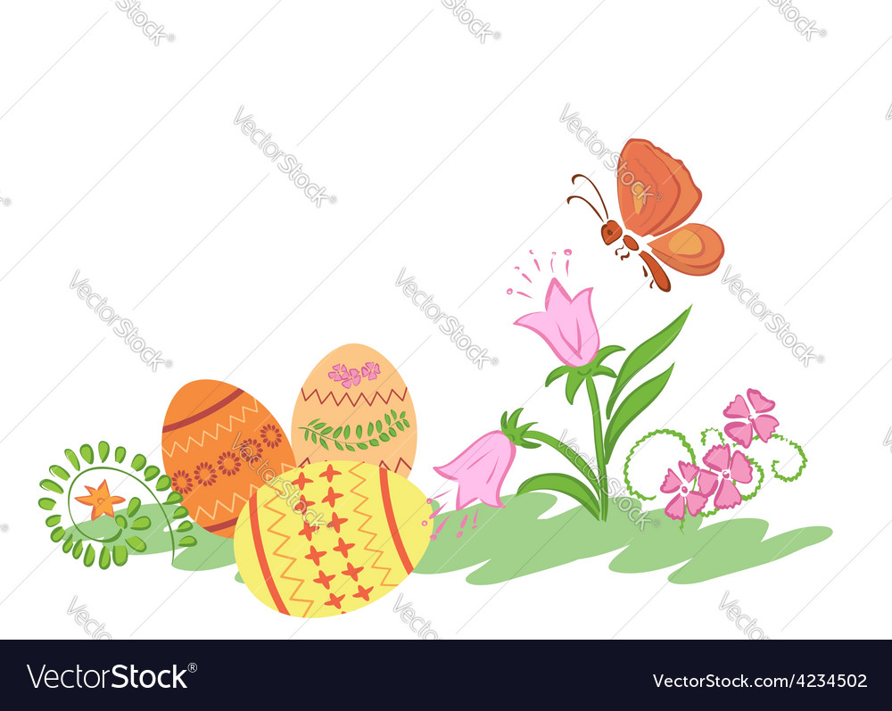 Easter eggs with flowers and butterfly vector | Price: 1 Credit (USD $1)
