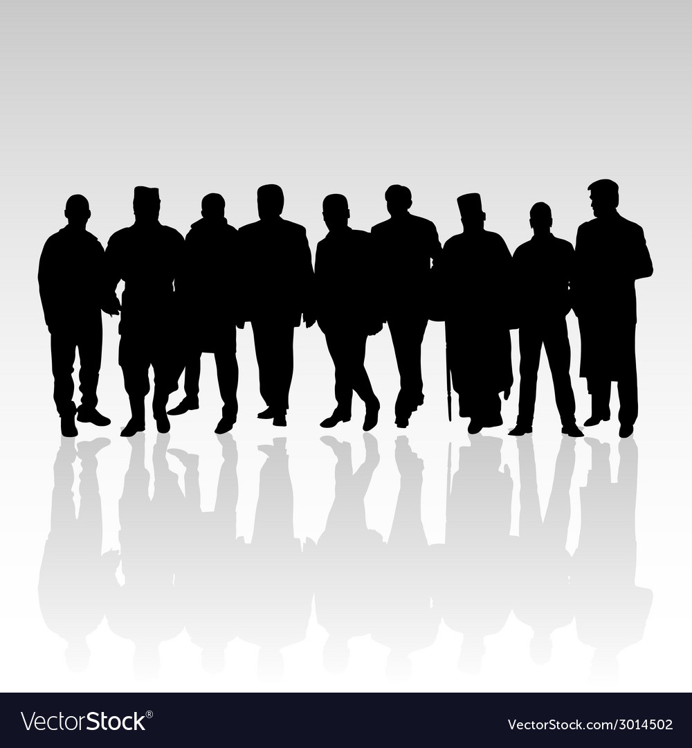 Man in group silhouette black color vector | Price: 1 Credit (USD $1)
