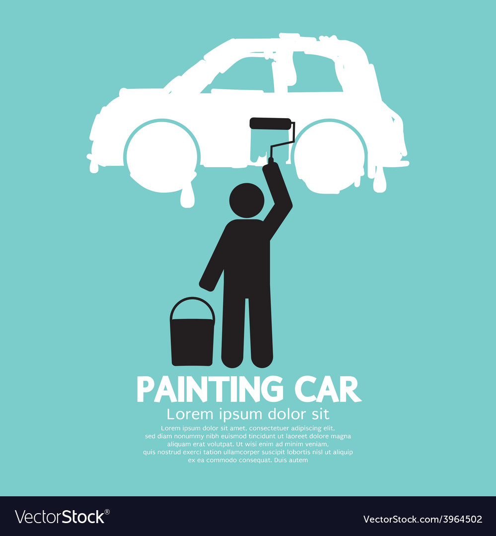 Man painting car on wall symbol vector | Price: 1 Credit (USD $1)