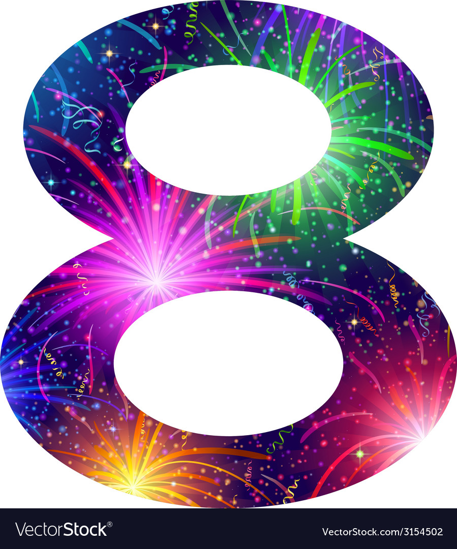 Number of colorful firework eight vector   Price: 1 Credit (USD $1)