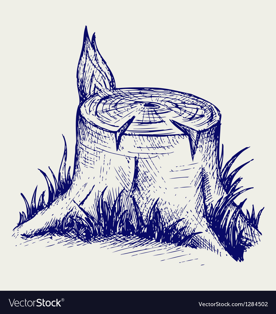 Old tree stump vector