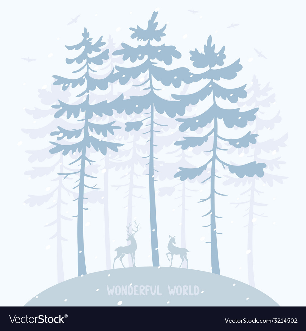 Pine and deer vector | Price: 1 Credit (USD $1)