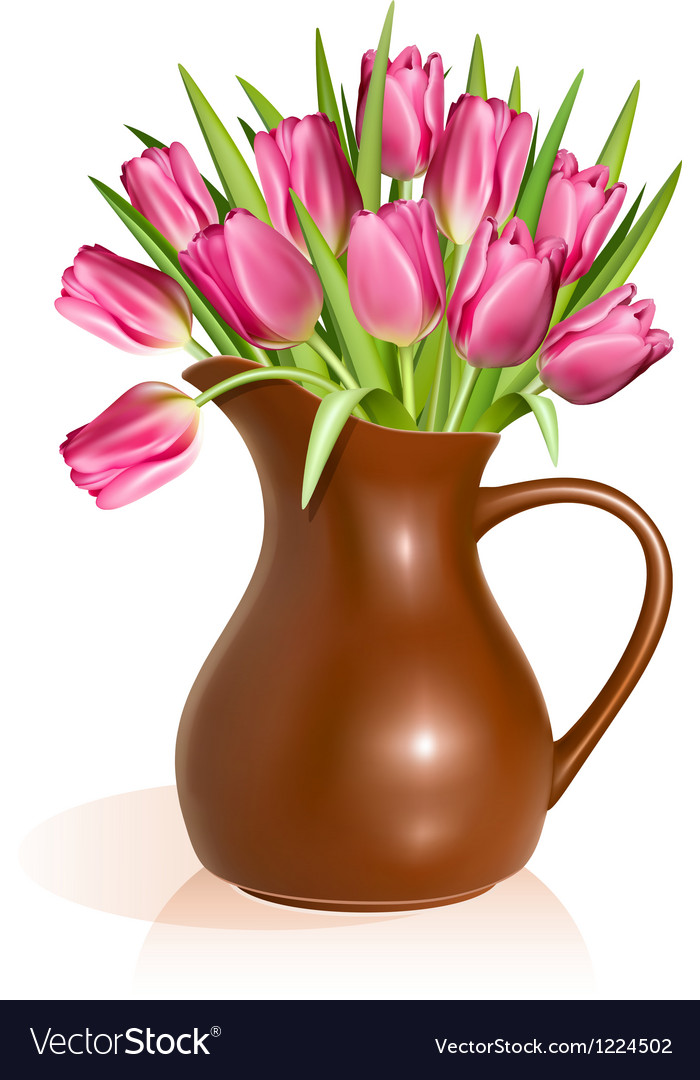 Pink tulips in clay pitcher vector | Price: 3 Credit (USD $3)