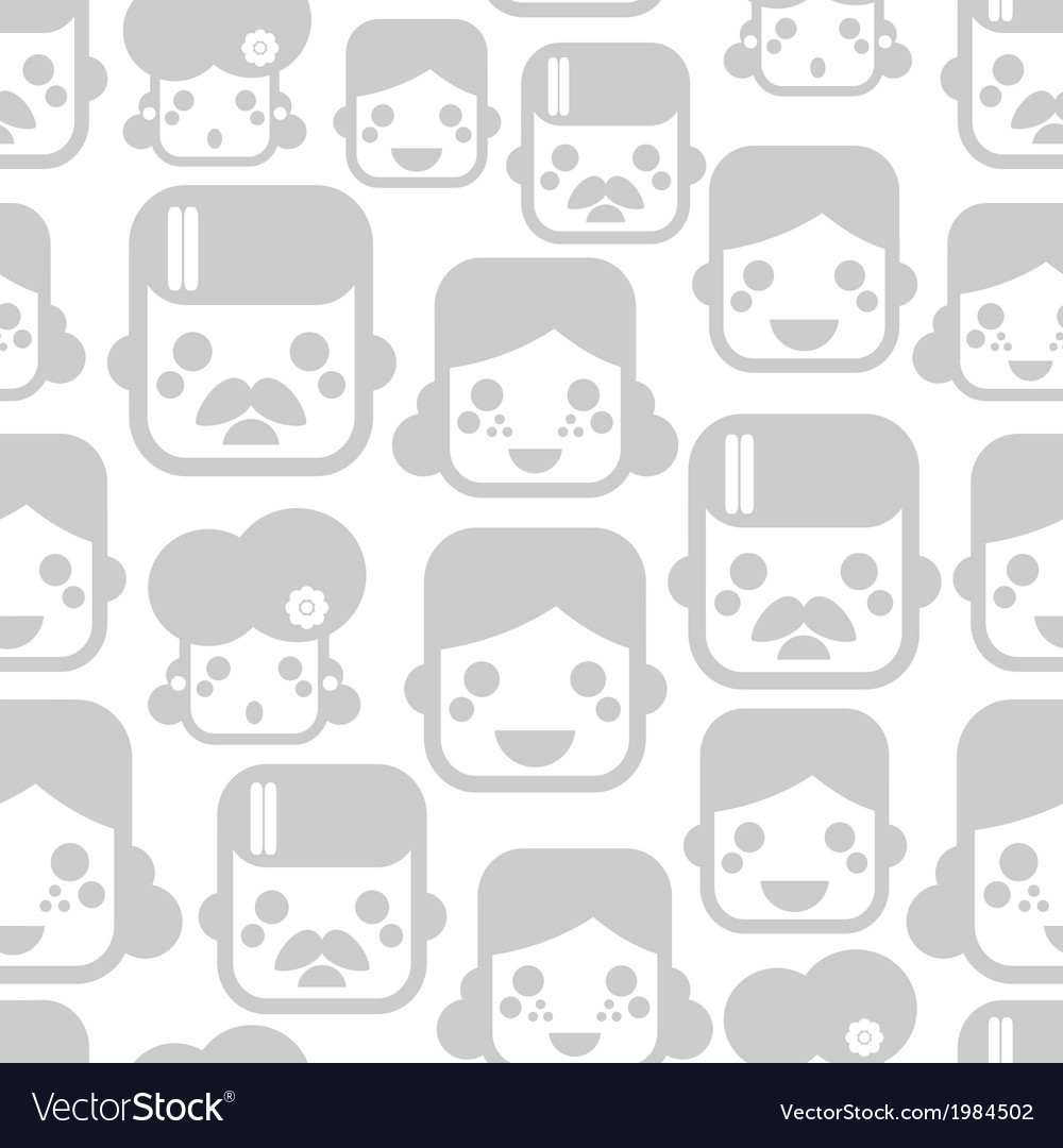 Seamless pattern with happy family faces vector | Price: 1 Credit (USD $1)