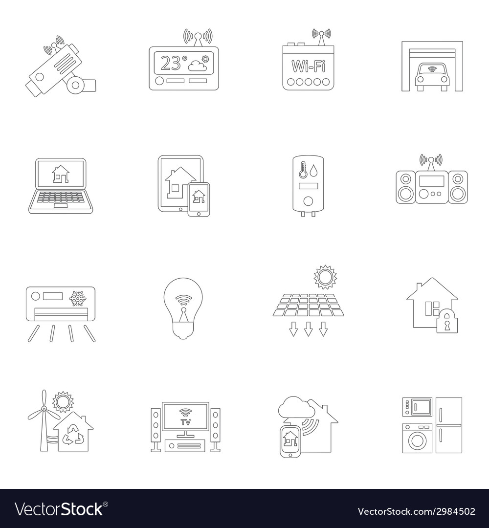 Smart home icons outline vector | Price: 1 Credit (USD $1)
