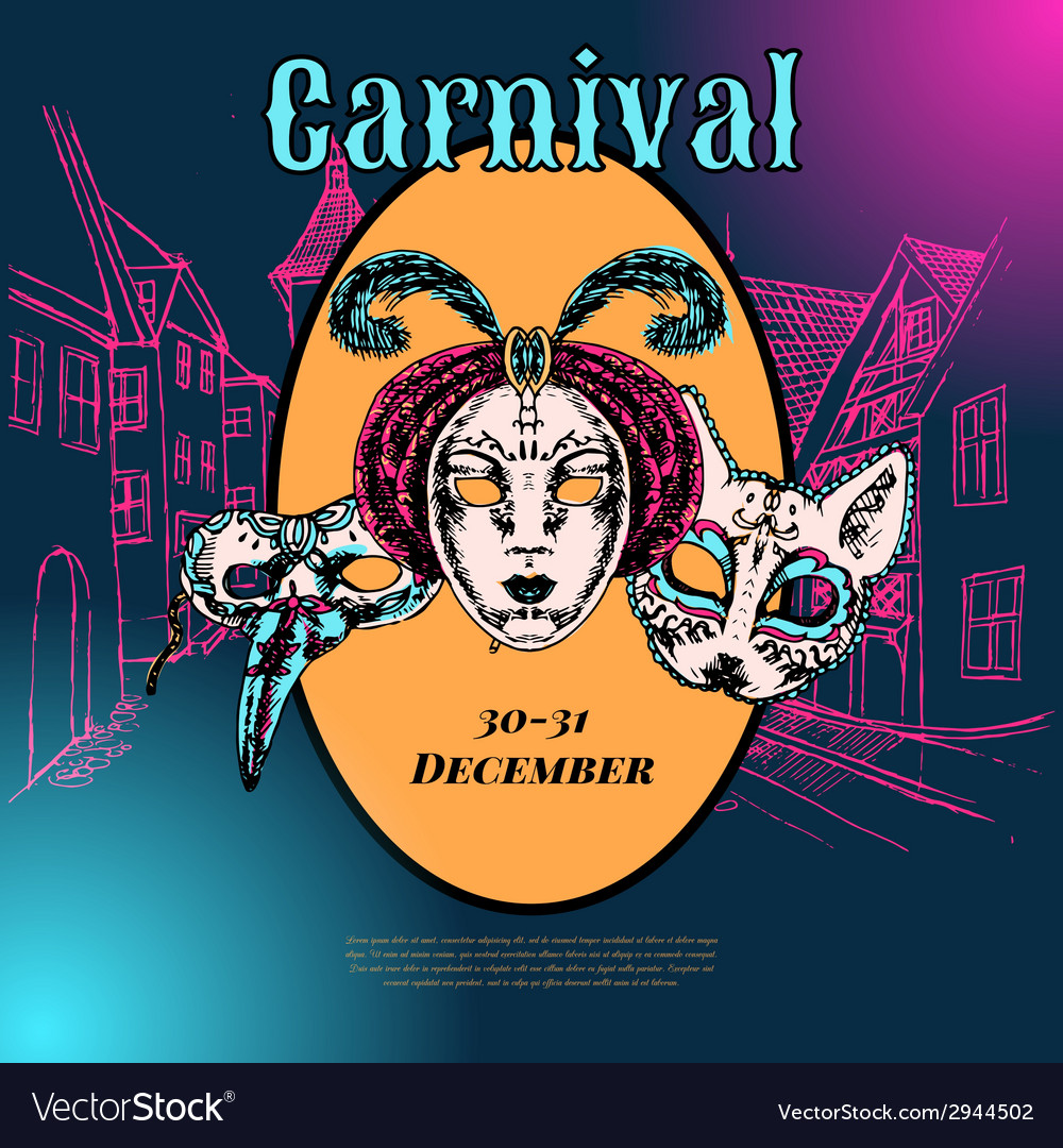 Venetian carnival mask composition poster vector | Price: 1 Credit (USD $1)
