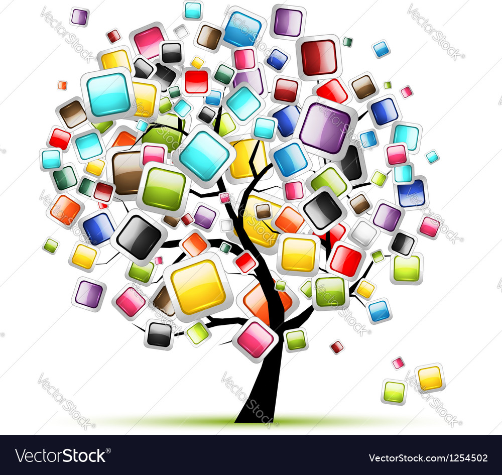 Web buttons glossy on tree for your design vector | Price: 1 Credit (USD $1)