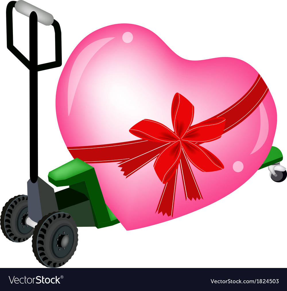 A pallet truck loading a big heart vector | Price: 1 Credit (USD $1)