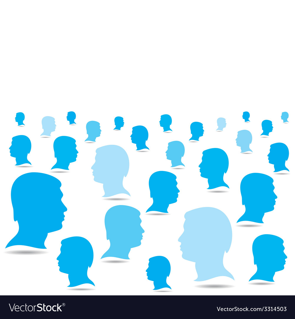 Blue business people crowd background vector | Price: 1 Credit (USD $1)