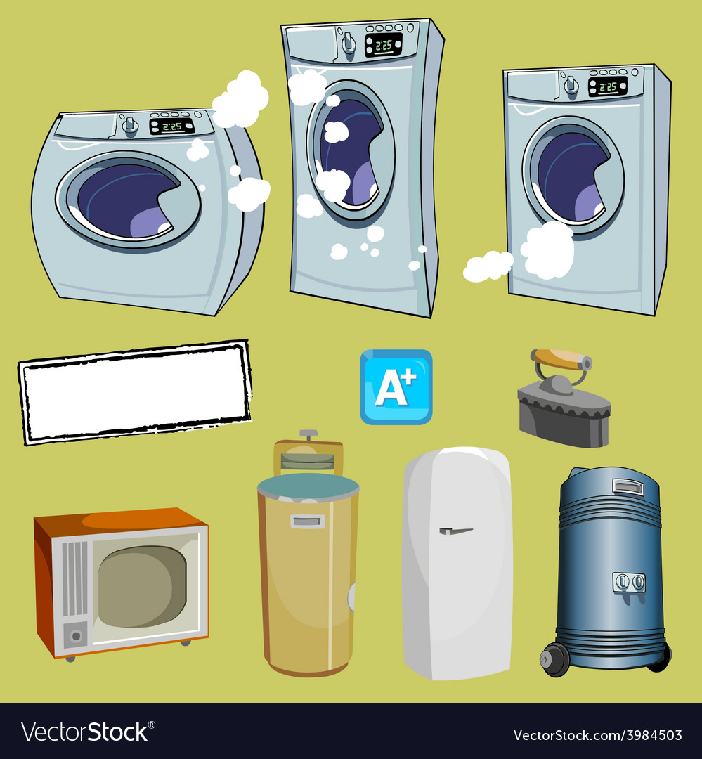 Cartoon household items different washing machine vector | Price: 3 Credit (USD $3)