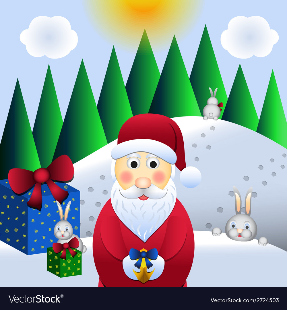 Christmas  santa claus and hares vector | Price: 1 Credit (USD $1)