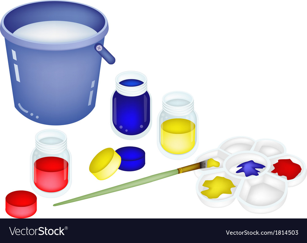 Color paint jars and palette with a bucket vector | Price: 1 Credit (USD $1)