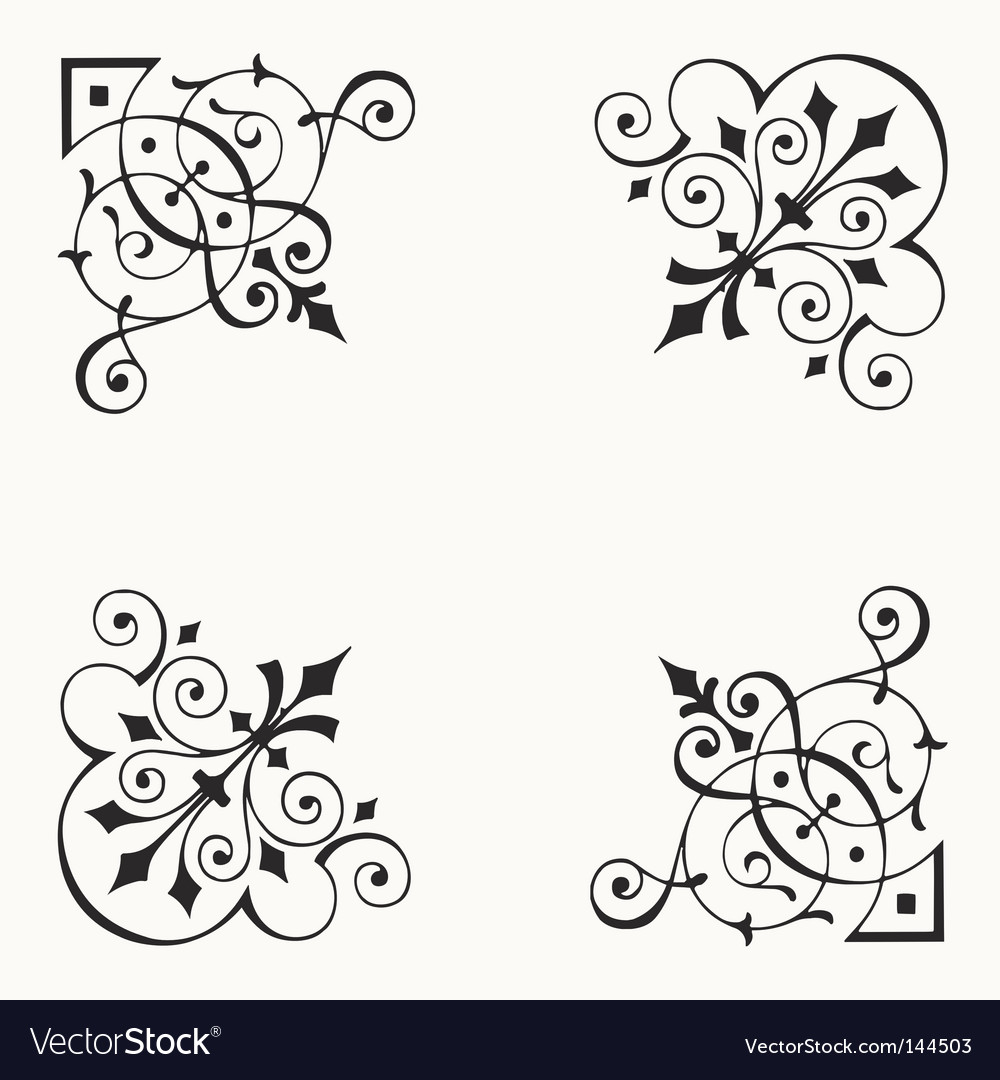 Corner border elements vector | Price: 1 Credit (USD $1)