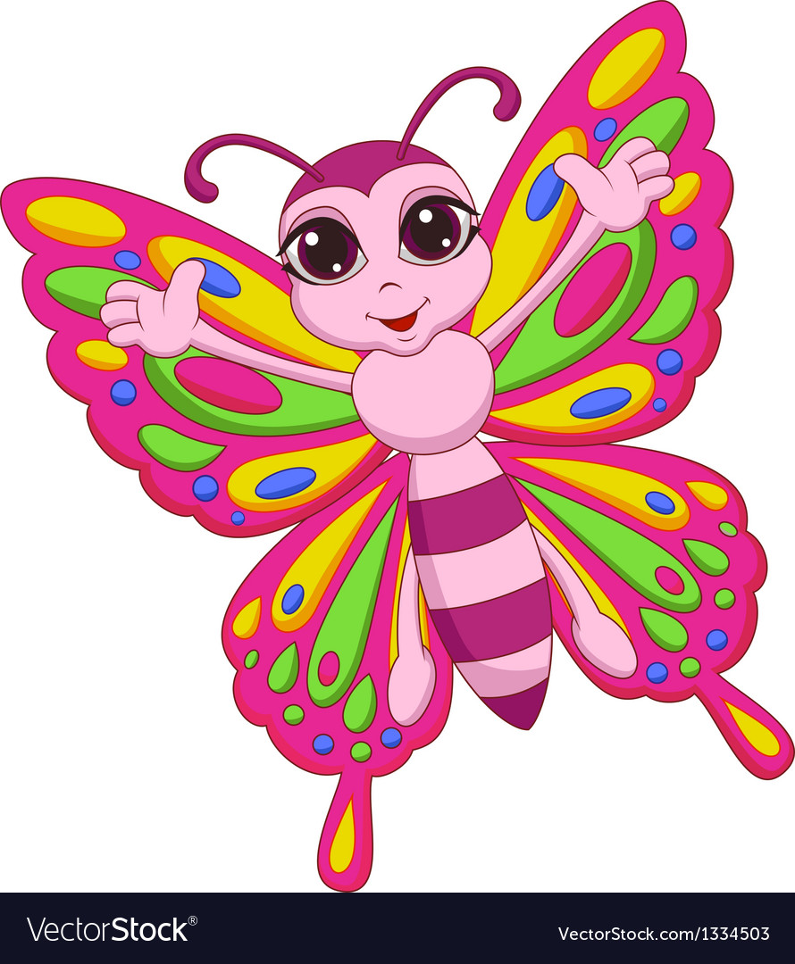 Cute butterfly cartoon vector | Price: 1 Credit (USD $1)