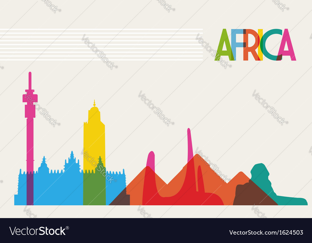 Diversity monuments of africa famous landmark vector | Price: 1 Credit (USD $1)