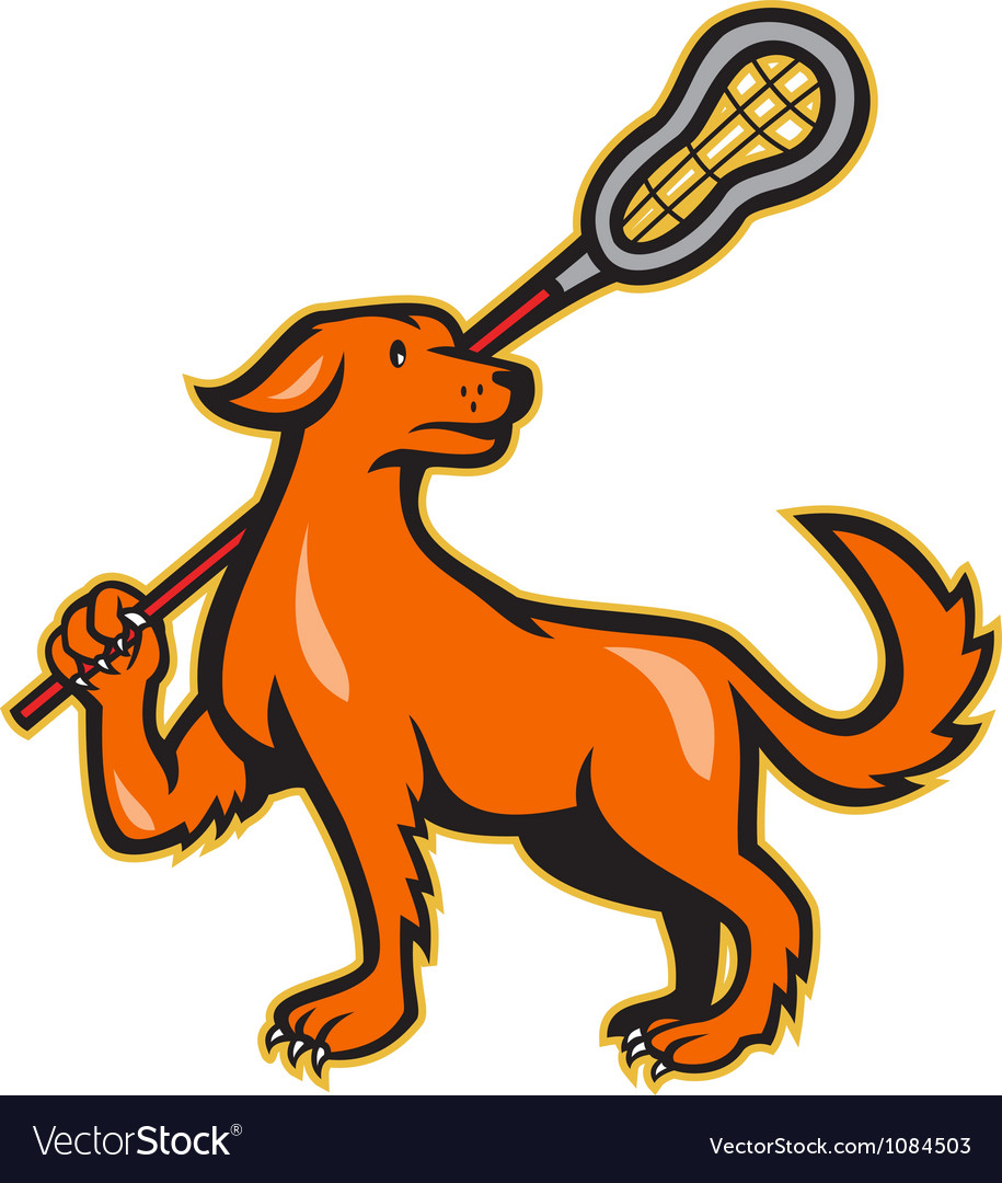 Dog with lacrosse stick side view vector | Price: 1 Credit (USD $1)