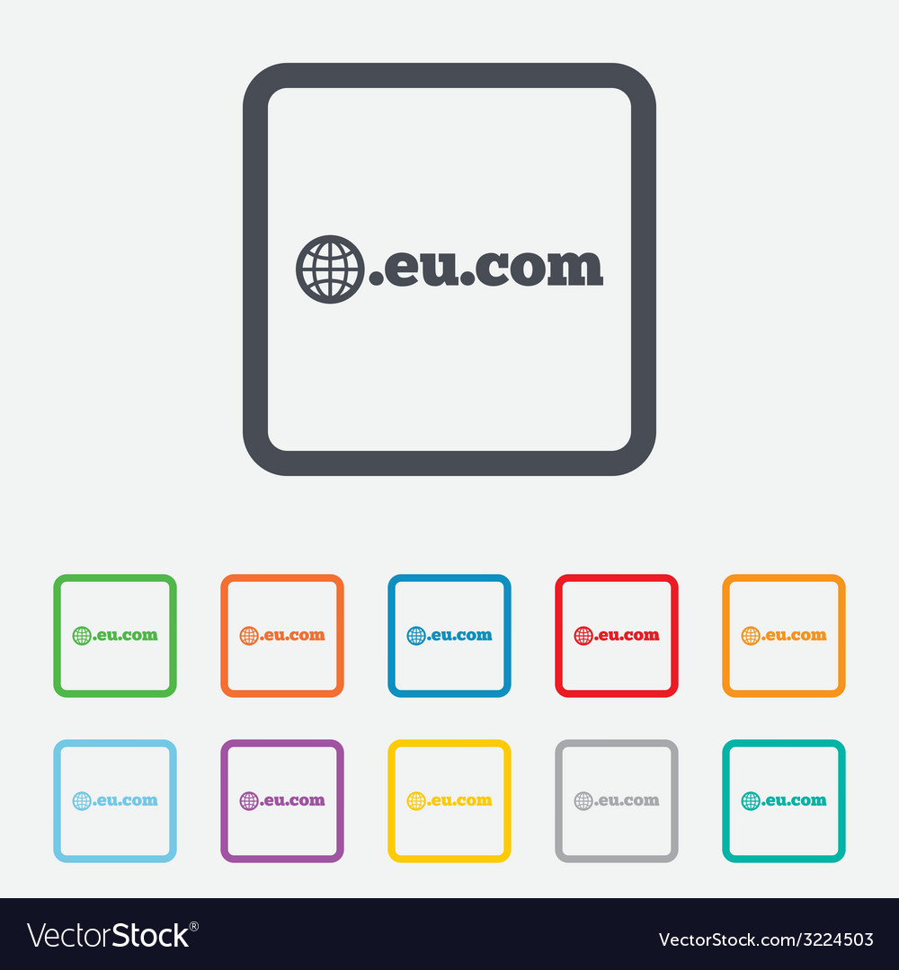 Domain eucom sign icon internet subdomain vector | Price: 1 Credit (USD $1)