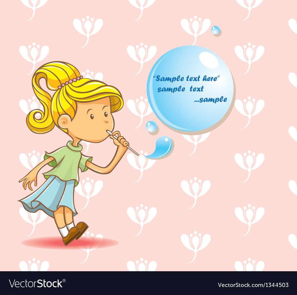 Girl blowing bubbles vector   Price: 3 Credit (USD $3)